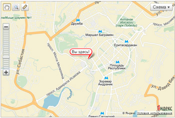 HTML5 Geolocation API - пример использование Yandex Maps API