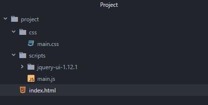 Структура проекта на основе библиотеки jQuery UI